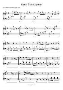 Deniz Üstü Köpürür Piyano Notası