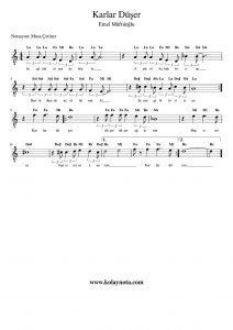 Karlar Düşer - Kolay Notası
