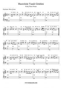 Hasretinle Yandı Gönlüm - Kolay Piyano Notası