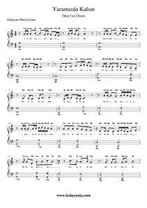 Yaramızda Kalsın - Kolay Piyano Notası